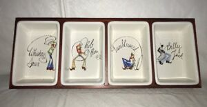 Pottery Barn Western Cowboy Tie One On Wood Tray w/4 Condiment Snack Dishes