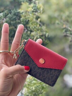 red gold and cream colors Small keyring coin pouch for women in blue