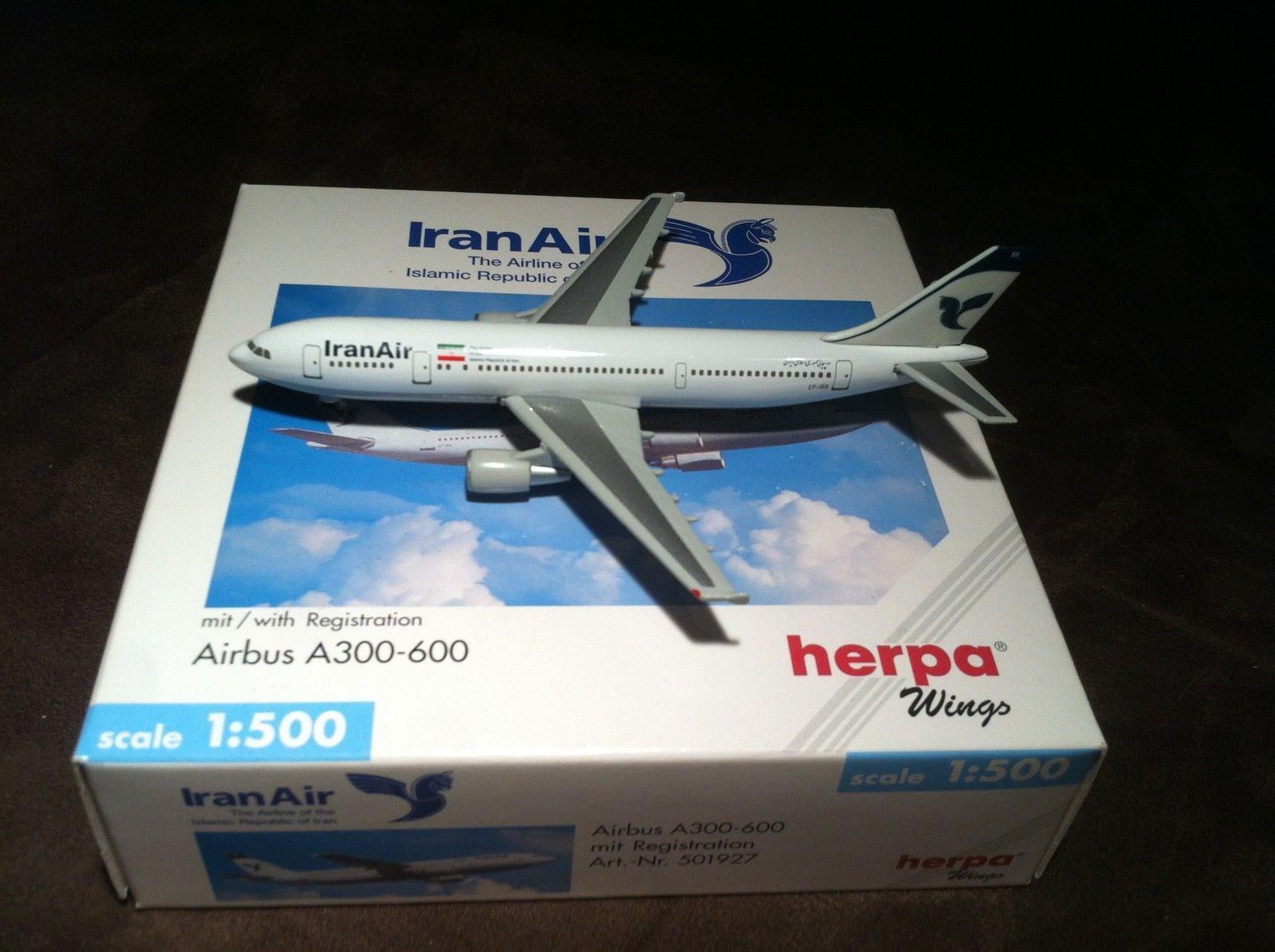 NEW HERPA WINGS WINGS WINGS 501927 IRAN AIR AIRBUS A300-600 W  REG. 1 500 SCALE RARE MIB NIB 714fbc