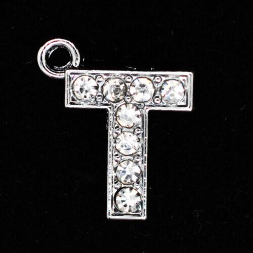 Silver Plated Crystal Rhinestone Alphabet Letter Charm Pendant Jewellery Making