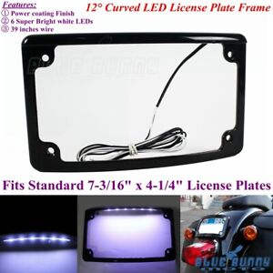 1PC-Motorcycle-12-Curved-6-White-LED-Light-7-3-16-034-x-4-1-4-034-License-Plate-Frame