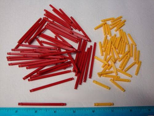 """MICRO KNEX 100 Rods Red 2 1//2/"""" /& Yellow 1/"""" Bulk Mini Parts Pieces Lot"""