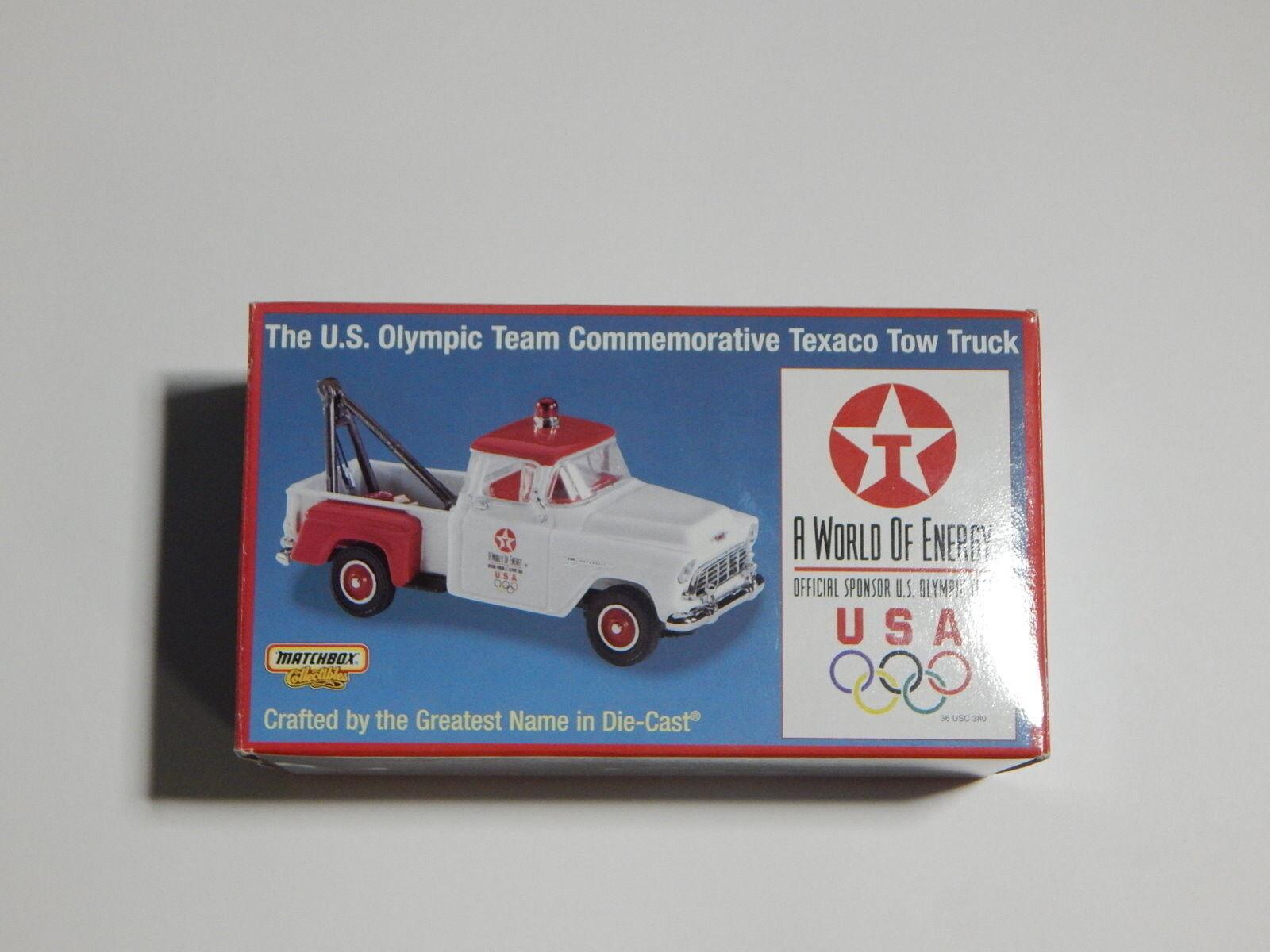 Matchbox 1955 CHEVY REMOLQUE REMOLQUE REMOLQUE CAMIóN de Texaco de equipo olímpico de EE. UU., Diecast, menta en caja con certificado de autenticidad R1 07324e
