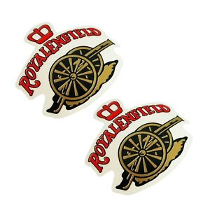 Fits-Royal-Enfield-Tool-Box-Red-Golden-Cannon-And-Crown-Sticker-Emblem-Set-AUD