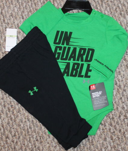 - Size 0-3 Unguardable Shirt;Pants;Green 3-6 mo Boys Under Armour Outfit New
