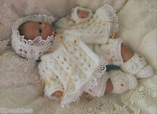 Dolls Knitting Pattern DK Daisy Matinee Coat Trousers Bonnet Shoes Reborn Dolls