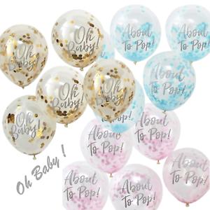 OH-Baby-12-034-circa-al-Pop-CORIANDOLI-Palloncini-Baby-Shower-Festa-Decorazione-x-5