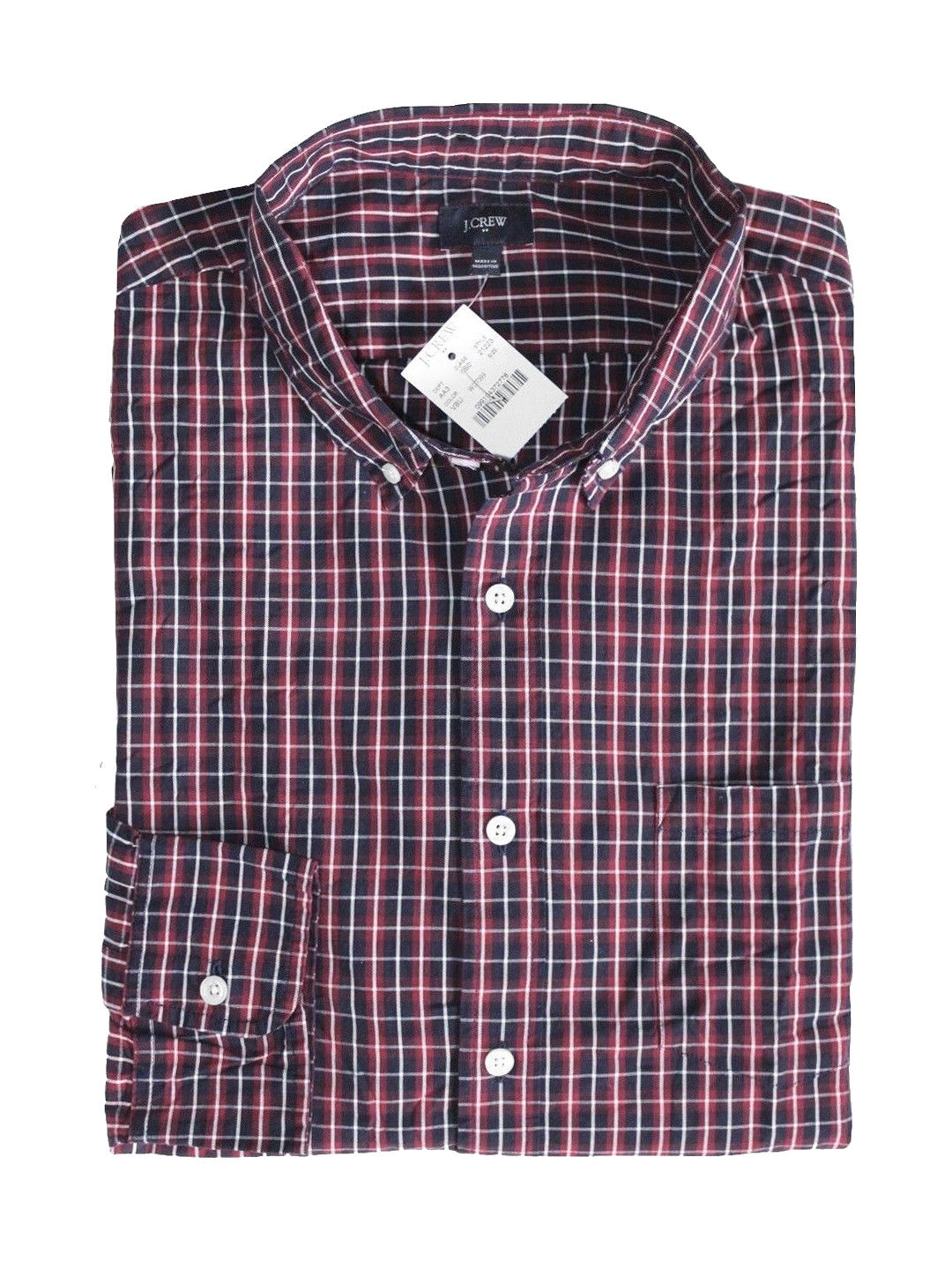 J.Crew Factory - Men's L - Regular Fit - Red Navy bluee Plaid Washed Cotton Shirt
