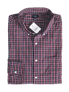 J-Crew-Factory-Men-039-s-L-Regular-Fit-Red-Navy-Blue-Plaid-Washed-Cotton-Shirt