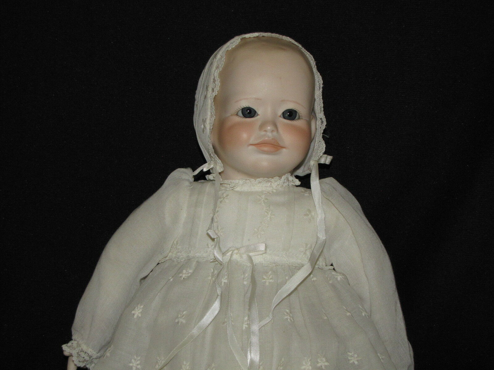 Porcelain Swivel Head Doll with 2 Face Options Long Christening Gown