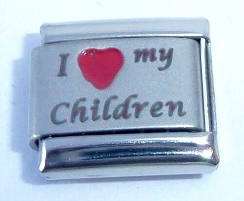 I LOVE MY CHILDREN Italian Charm  Red Heart 9mm fits Classic Bracelets E414 Kids