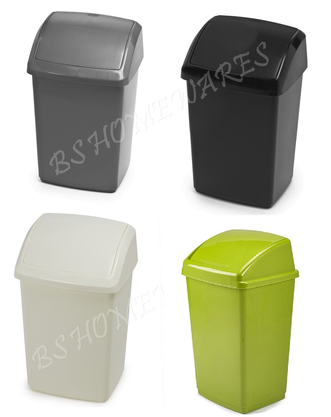 18L Swing Bin White Small Plastic Rubbish Waste Kitchen Home Office With Lid