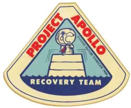 Snoopy  Apollo Space  NASA  1969 Vintage Looking Travel Sticker Decal Label Proj