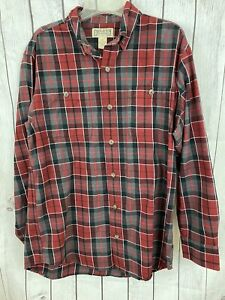 Duluth-Trading-Co-Mens-Red-Flannel-Long-Sleeve-Button-Down-Shirt-Size-M