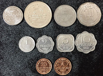SRI LANKA SET 10 COINS 1-50 CENTS 1-10 RUPEES ARMORIAL ENSIGN 1973-2004 UNC