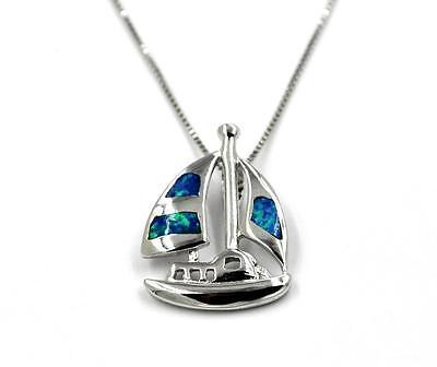Anhänger Kette Silberkette Halskette Opal Blau Segelboot Sterling Silber 925 | eBay