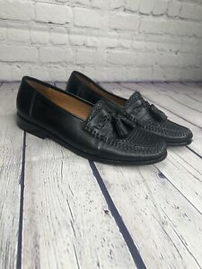Nordstrom-Kappa-Men-039-s-7-5-M-Weave-Dark-Blue-Leather-Loafers-Tassel-Shoes