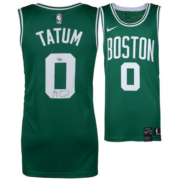 online retailer 0bf39 f4ff1 Jayson Tatum Boston Celtics Autographed Nike Green Swingman Jersey