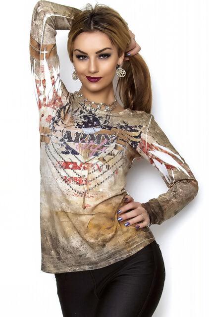 MISSY Shirt mit Strass Langarmshirt Army mehrfarbig Gr. S/M M/L L/XL