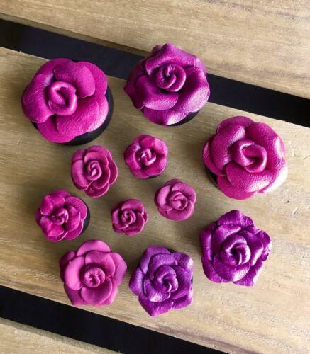 PAIR Purple Leather Flower Plugs Tunnels Gauges Earlets Body Jewelry