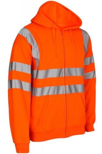 KAPTON Hi Vis Zip con Cappuccio Tinta Unita riflettente Workwear Sicurezza Sicurezza Felpa