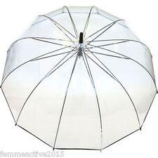 Grand Parapluie cloche XXL  transparent liseret fin noir