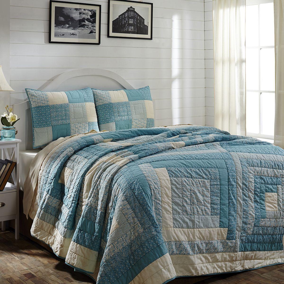 SEA COTTAGE blueeE CREAM 4 PC QUEEN QUILT BEDDING SET W  SHAMS BEDSKIRT LOG CABIN