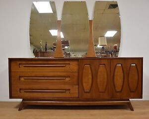 Image is loading Walnut-Dresser-And-Mirror-By-Young-Manufacturing-Mid-