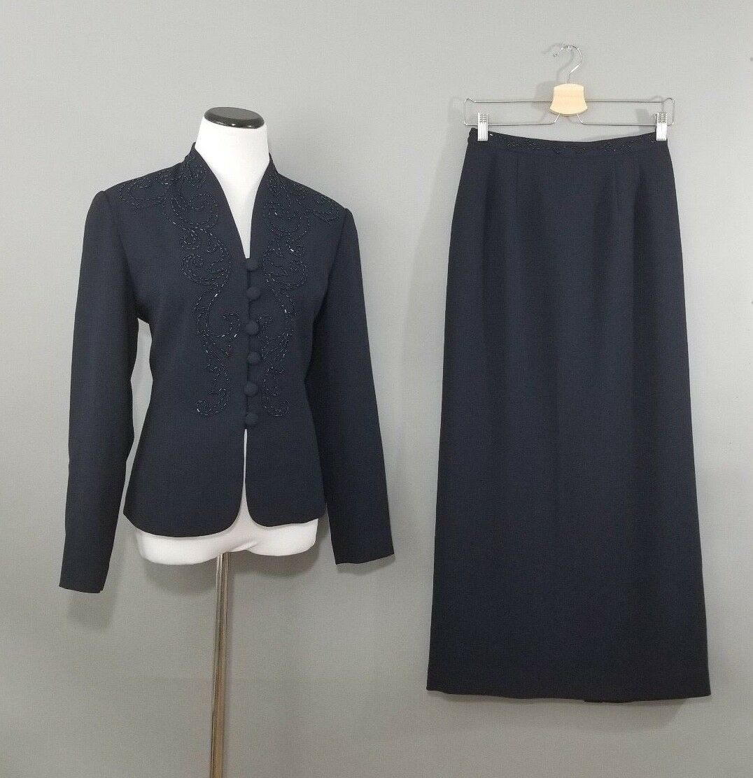 Adrianna Papell Mother of The Bride Navy Beaded 2 Piece Suit Skirt Blazer Size 6
