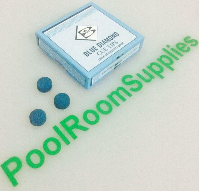 Pool Snooker Billiard Cue Tips Glue on type (3x 9mm) Brunswick Blue Diamond