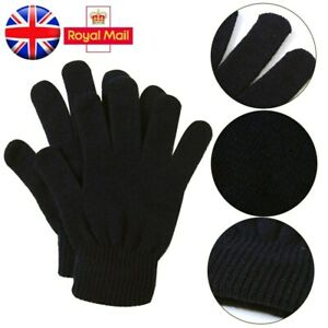 Mens-Womens-Unisex-Black-Warm-Stretch-Winter-Gloves-Handy-Basic-Gloves-One-Size