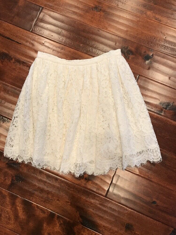 IRO White Lace Floral Stitch Skirt, Size 4 (US) 40 (IT) New   315
