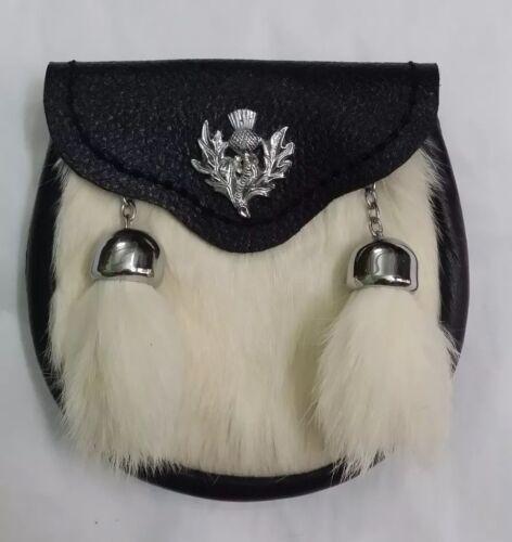 Kids Kilt Sporran White Rabbit Fur Thistle//Child/'s Sporran Leather//Baby Sporrans