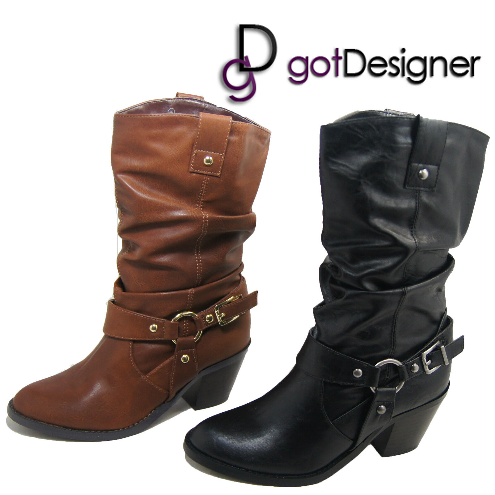 NEW Women Shoes Mid Calf Heels Boots Tan Leather Casual Buckle Mid-Heels Comfort