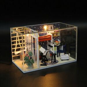 Beach-Holiday-Villa-Dollhouse-Miniature-DIY-Kit-Wooden-Toys-w-LED-Light-w-cover