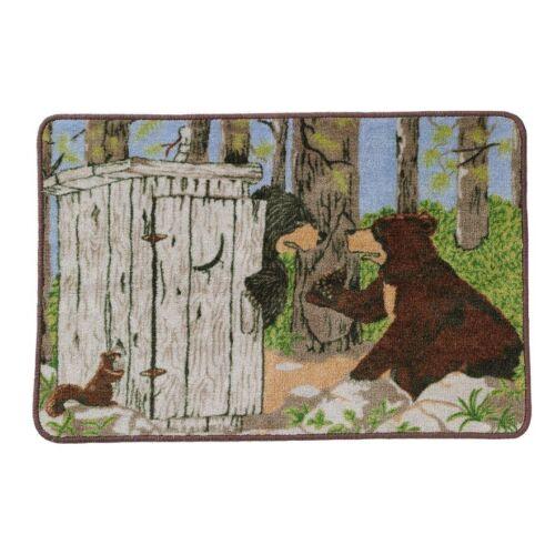 Gotta Go Outhouse Cabin Bear Moose Raccoon Shower Curtain and Bathroom Accessory