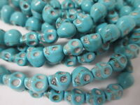 Skull Beads Wholesale 205 Beads - Turquoise Blue Howlite 10mm Halloween Spooky