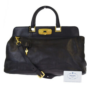 Image is loading Authentic-PRADA-MILANO-2Way-Shoulder-Hand-Bag-Leather- b2aec75327