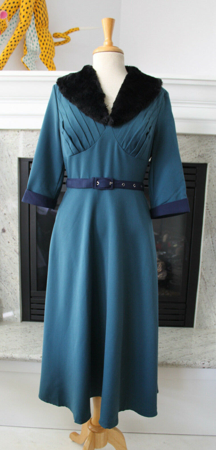 VOODOO VIXEN NWT bluee Retro 40's Glam Vintage Fit Flare Fur Collar Midi Dress 8