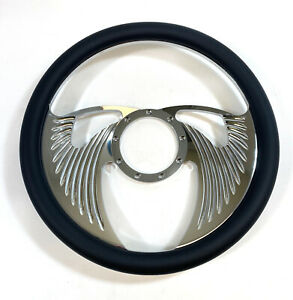 14-034-Billet-Aluminum-Steering-Wheel-with-Leather-Grip-Angel-Wings-Style-CNC