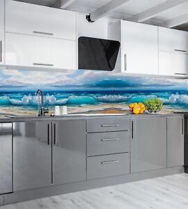 Details zu Küchenrückwand Acrylglas SP95 Die Welle Fliesenspiegel  Spritzschutz Badfliese