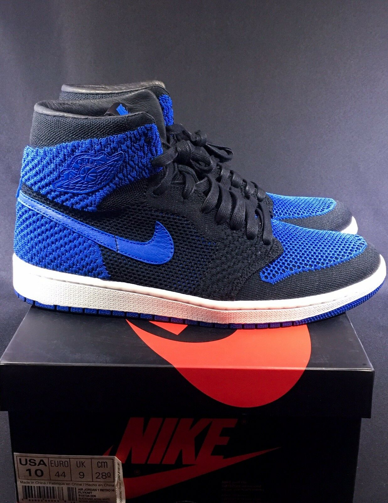 NIKE AIR JORDAN I RETRO 1 HI FLYKNIT HIGH OG BLACK GAME ROYAL blueE WHITE BRED 10
