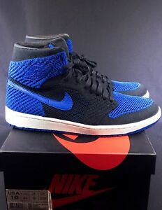 c6544f6090b0b NIKE AIR JORDAN I RETRO 1 HI FLYKNIT HIGH OG BLACK GAME ROYAL BLUE ...