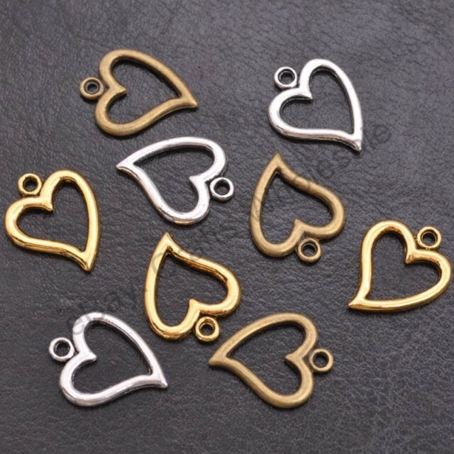 Wholesale Tibetan Sliver Heart Charms Pendant Jewelry Findings 14*17MM CA3001