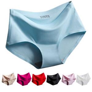 Women-Sexy-Ice-Silk-Seamless-Briefs-Knickers-Underwear-Mid-Waist-Panties-Shorts