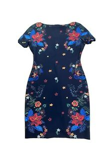 ZARA TRAFALUC Floral Lilly Print Shift Dress High Neck Short Sleeves Size Large