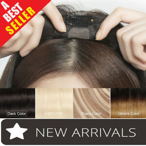 Clip-in-100-Human-Hair-Topper-Toupees-Piece-Straight-Hairpiece-Wigs-Women-P116