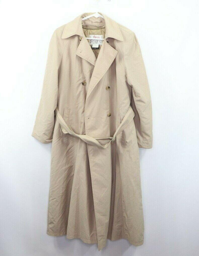 Vtg 80er Jahre Orvis Damänner Größe 12 mit Gürtel Außen Regenmantel Trenchcoat