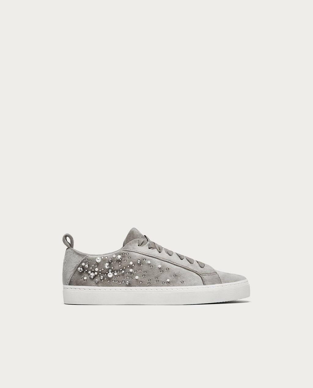 Zara Woman Velvet Plimsolls With Faux Pearls Pearls Pearls Size 6.5 NWT ccf0e0