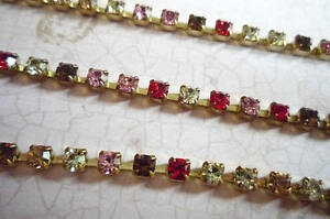 3mm-Multicolor-Rhinestone-Chain-Brass-Setting-Pink-Red-Topaz-Czech-Crystals